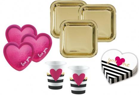 38 Teile Party Deko Set Herz You + Me Pink und Gold Glanz für 8 Personen