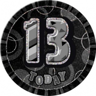 XXL Glitzer Button 13. Geburtstag Schwarz