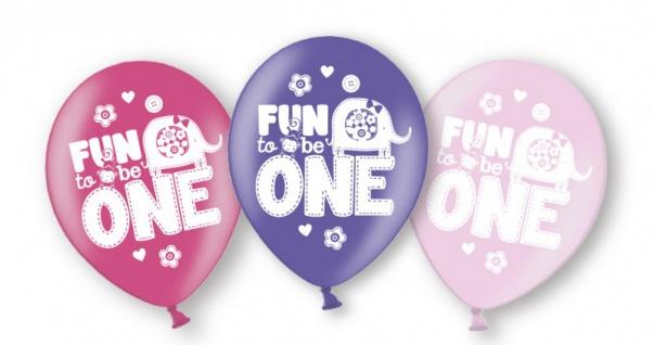 6 Luftballons Erster Geburtstag Spaß in Rosa