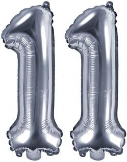 Folienballons Zahl 11 Silber Metallic 35 cm