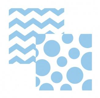 16 kleine Servietten Zickzack Punkte Pastell Blau