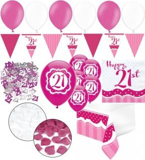 XXL 35 Teile zum 21. Geburtstag Perfectly Pink für 18 Personen - Servietten