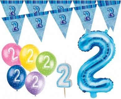 2. Geburtstag Blau Folienballon + Girlande + Luftballons + Kerze Deko Set - Zwei