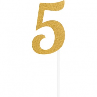 Glitzer Kuchen oder Deko Stecker Zahl 5 Gold