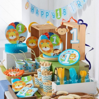 8 kleine Teller 1. Geburtstag im Zoo Blau - Vorschau 3