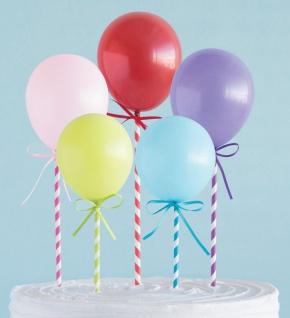 5 Kuchen oder Deko Stecker bunte Mini Luftballons