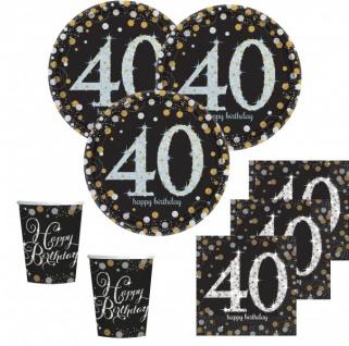 32 Teile zum 40. Geburtstag Gold Glitzer für 8 Personen