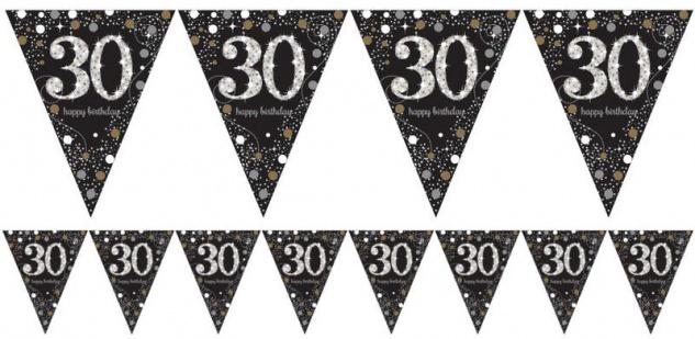 Wimpel Girlande Glitzerndes Gold und Silber 30. Geburtstag