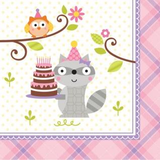 16 kleine Servietten kleiner Waschbär Rosa