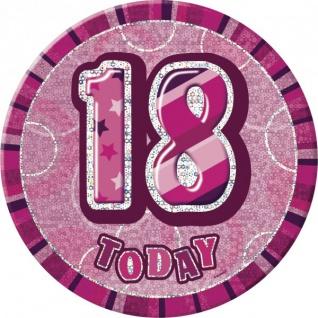 XXL Glitzer Button 18. Geburtstag Pink