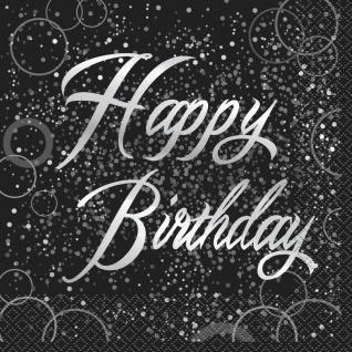 32 Teile edles Party Deko Set Happy Birthday zum Geburtstag in Schwarz Silber foliert für 8 Personen - Vorschau 4