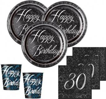 32 Teile edles Party Deko Set zum 30. Geburtstag in Schwarz Silber foliert für 8 Personen