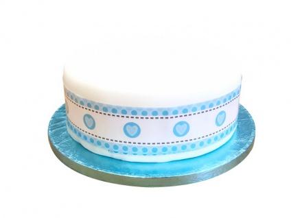 Kuchen Rüschen oder Band Blaue Herzchen - 5 x 100cm