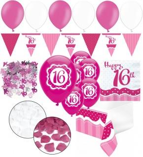 XXL 35 Teile Sweet Sixteen zum 16. Geburtstag Perfectly Pink für 18 Personen - Servietten