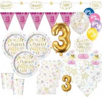 XXL 51 Teile Dritter Geburtstag Deko Set Twinkle little Star in Rosa und Gold 8 Personen 3. Geburtstag