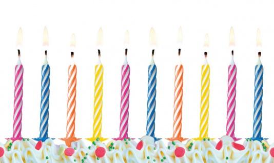 10 kleine bunte Kuchen Kerzen im Mix