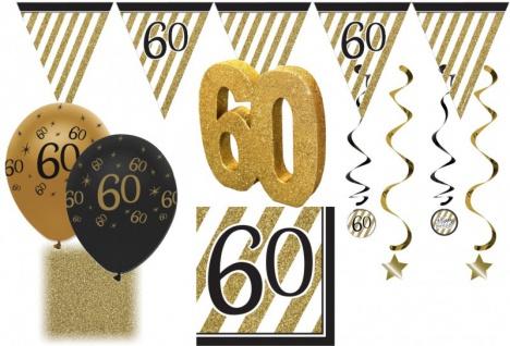 30 tlg. Party Deko Set zum 60. Geburtstag oder Jubiläum in Schwarz & Gold