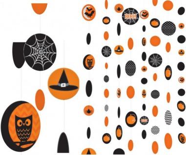 8 hängende Halloween Girlanden im Orange und Schwarz Mix