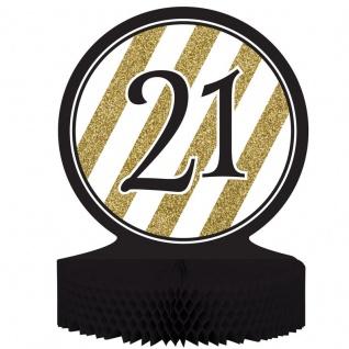 Tischaufsteller 21. Geburtstag Black and Gold