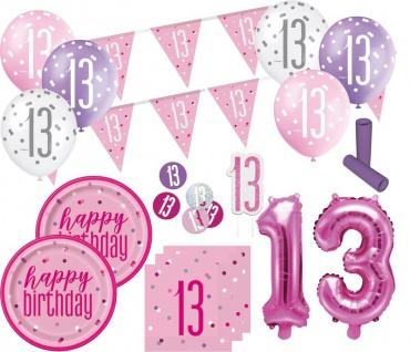 XL 36 Teile 13. Geburtstag Pink Dots Party Deko Set 8 Personen - Vorschau 1
