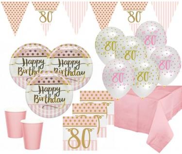 XL 44 Teile Pink Chic Party Deko Set zum 80. Geburtstag in Rosa und Gold Glanz für 8 Personen