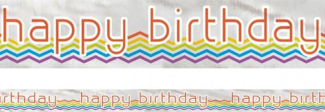 Folien Banner zum Geburtstag Regenbogen Zickzack