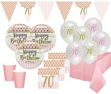 XL 44 Teile Pink Chic Party Deko Set zum 70. Geburtstag in Rosa und Gold Glanz für 8 Personen