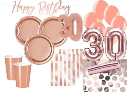 XXL 56 Teile Party Deko Set zum 30. Geburtstag in Roségold für 12 Personen