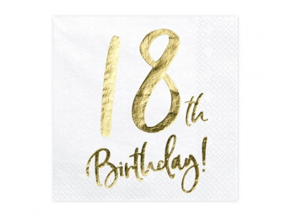 20 Servietten zum 18. Geburtstag in Weiß Gold foliert