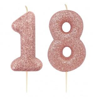 Kuchen Kerze 18. Geburtstag Rosegold Glitzer