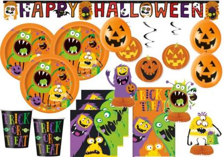 XXL Halloween Deko Set kleine Monster für 16 Kinder