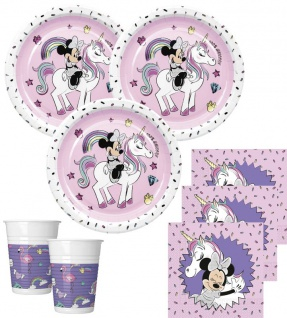 52 Teile Disney Minnie Maus Einhorn Party Deko Basis Set für 16 Kinder