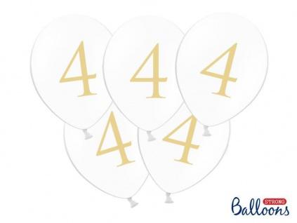 50 Vierter Geburtstag Luftballons zum 4. Geburtstag in weiß gold