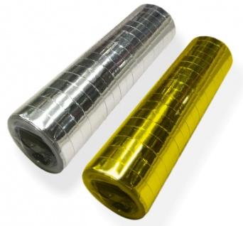 2 Luftschlangen Rollen Gold und Silber Metallic