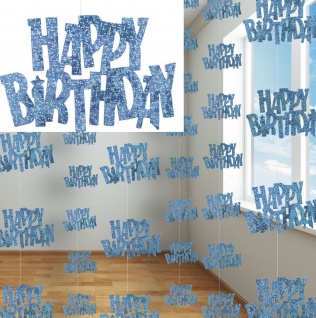 6 Happy Birthday Party Glitzer Girlanden Blau