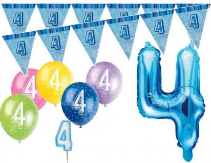 4. Geburtstag Blau Folienballon + Girlande + Luftballons + Kerze Deko Set - Vier