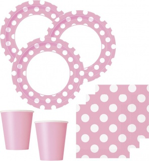 32 Teile Party Set Baby Rosa mit weißen Punkten für 8 Personen