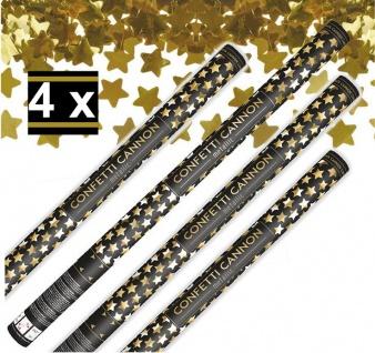 4 x XXL Konfetti Kanone Goldene STERNE 80 cm - Konfetti Shooter Streamer - für Silvester, Hochzeit, Party, Geburtstag