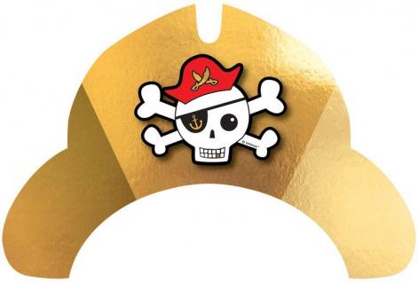 8 Party Hütchen Pirat Goldzahn