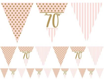 70. Geburtstag Pink Chic Wimpel Girlande 3, 7m