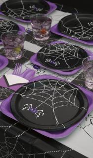 8 Halloween Papp Teller Spinnen Netz - Vorschau 3