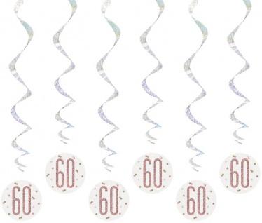 6 hängende Swirl Girlanden Urban Apricot Glitzer in Rosegold zum 60. Geburtstag