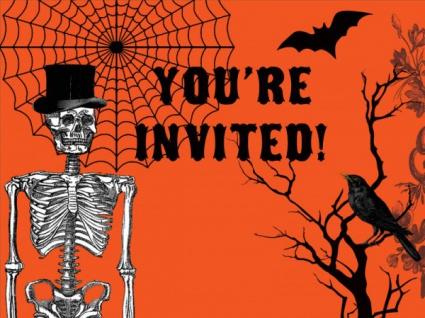 8 Einladungskarten Halloween Kulisse