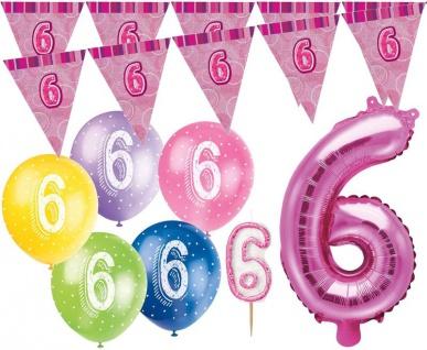 6. Geburtstag Pink Folienballon + Girlande + Luftballons + Kerze Deko Set - Sechs