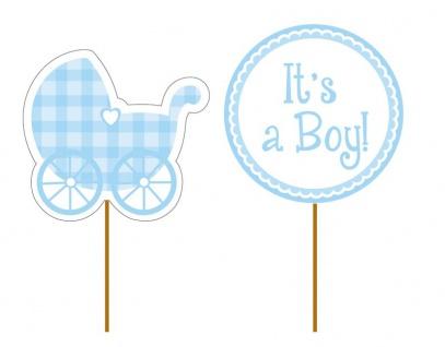 12 kleine Kuchen oder Muffin Picks Baby Party It's a Boy Blau