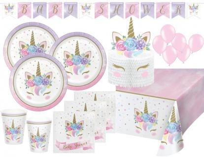 XL 45 Teile Baby Shower Einhorn Party Deko Set für 8 Personen
