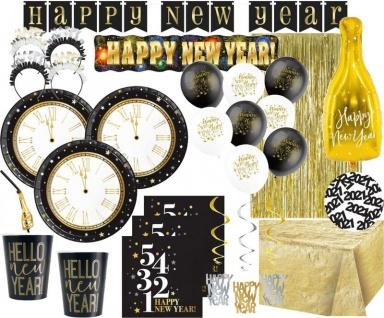XXL Silvester Countdown 2021 und Neujahrs Party Deko Set 8 Personen