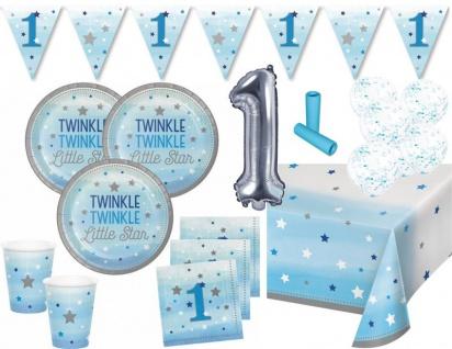 XL 42 Teile Erster Geburtstag Blinke Kleiner Stern Blau Party Deko Set 8 Personen