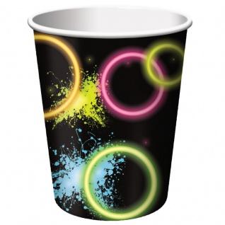 8 Papp Becher Knicklicht Neon Raver Party