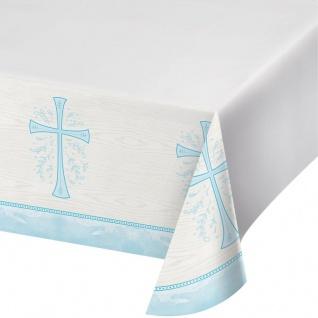 Plastik Tischdecke mit Kreuz in Hellblau